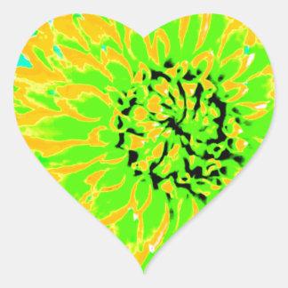 dahlias, bright yellow, teal, green ,blue heart sticker