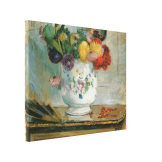 Dahlias by Berthe Morisot Wrapped Canvas Canvas Print