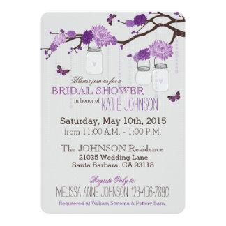 "Dahlias Tree Branch Mason Jar Rustic Bridal Shower 5"" X 7"" Invitation Card"