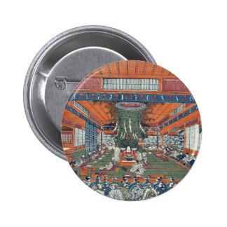 Daidai Kagura performance by Utagawa,Toyoharu Pinback Buttons