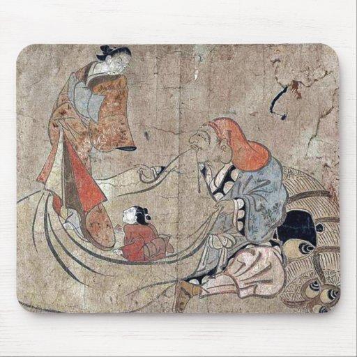 Daikoku y cortesana por Okumura, Masanobu Ukiyoe Alfombrilla De Ratón