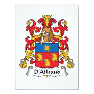 D'Ailhaud Family Crest 6.5x8.75 Paper Invitation Card