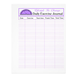 """Daily Exercise Page, For Lifestyle Change 8.5"""" X 11"""" Flyer"""