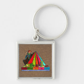 Daily Food Groups Pyramid Silver-Colored Square Keychain