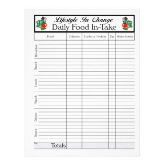 Daily Food In-Take page, for Lifestyle Change Flyer