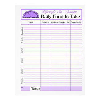 """Daily Food In-Take page, for Lifestyle Change 8.5"""" X 11"""" Flyer"""
