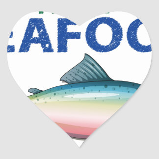 Daily fresh seafood heart sticker