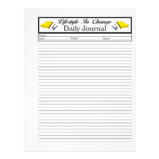 """Daily Journal lifestyle change page 8.5"""" X 11"""" Flyer"""