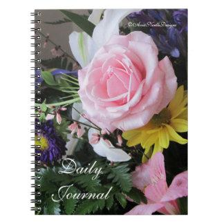 Daily Journal-Pink Rose Bouquet Spiral Notebooks