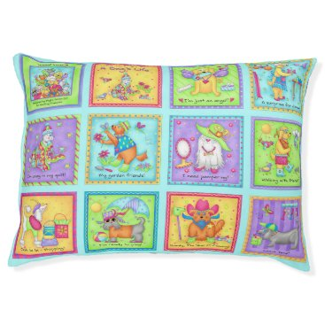 Beach Themed Daily Life of Dogs Blocks Whimsy Colorful Pet Bed