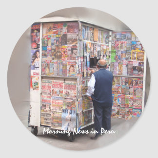 Daily News in Peru - Customizable Text Classic Round Sticker