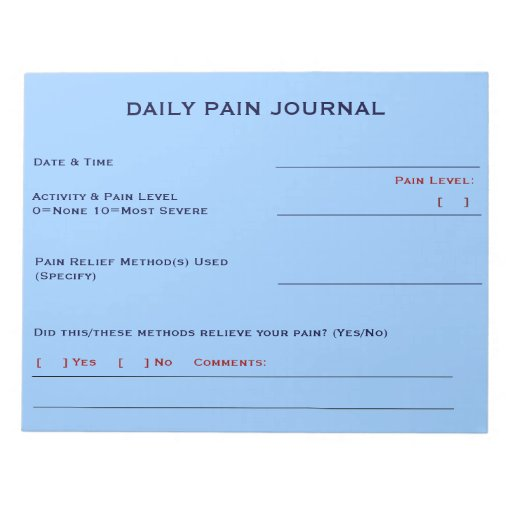 Daily Pain Journal (Sky Blue) Memo Notepad