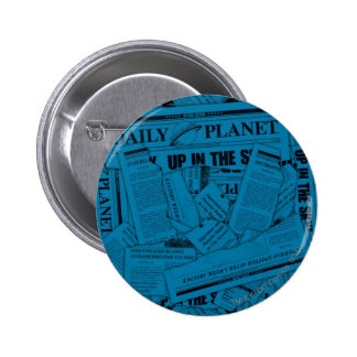 Daily Planet Pattern - Blue Button