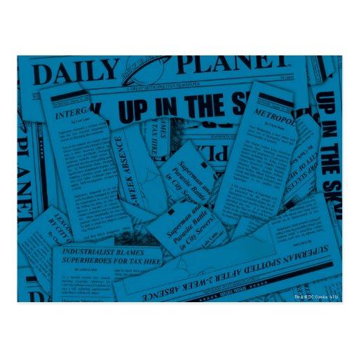 Daily Planet Pattern - Blue Postcard