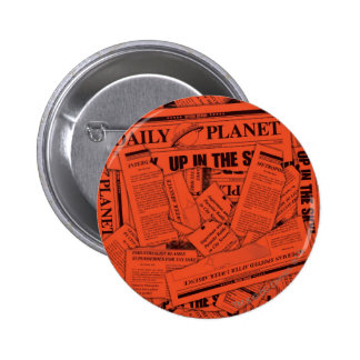 Daily Planet Pattern - Red Pinback Button