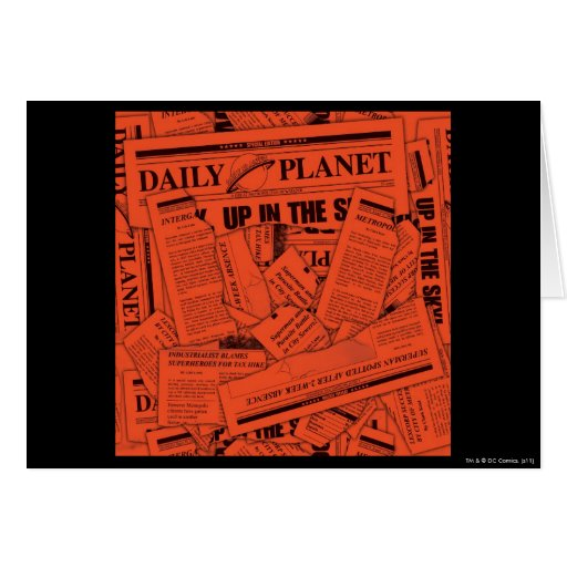 Daily Planet Pattern - Red Greeting Card