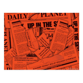 Daily Planet Pattern - Red Postcard