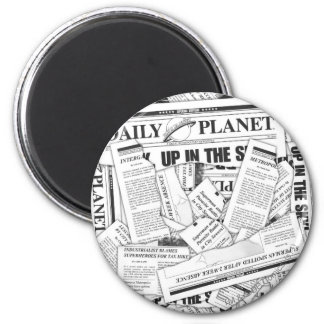 Daily Planet Pattern - White 2 Inch Round Magnet