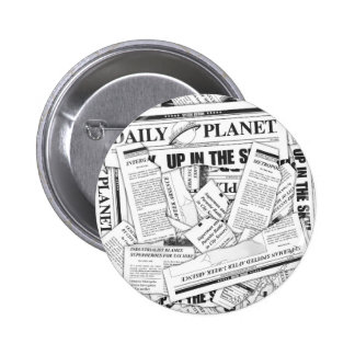 Daily Planet Pattern - White Pinback Buttons