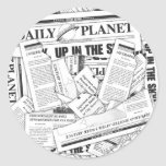 Daily Planet Pattern - White Classic Round Sticker
