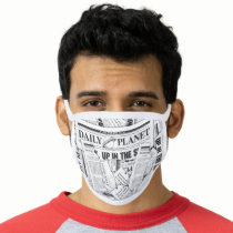 Daily Planet Pattern - White Face Mask