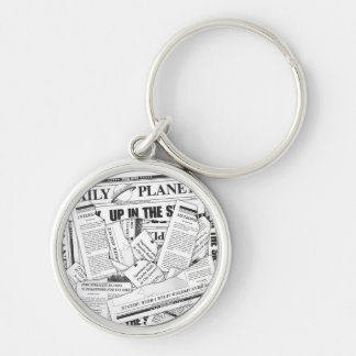 Daily Planet Pattern - White Keychain