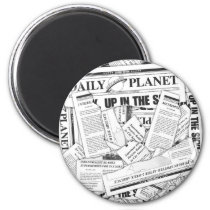 Daily Planet Pattern - White Magnet
