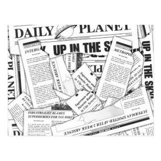 Daily Planet Pattern - White Postcard