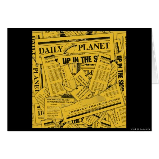 Daily Planet Pattern - Yellow Greeting Card