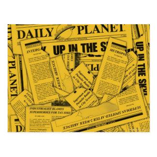 Daily Planet Pattern - Yellow Postcard
