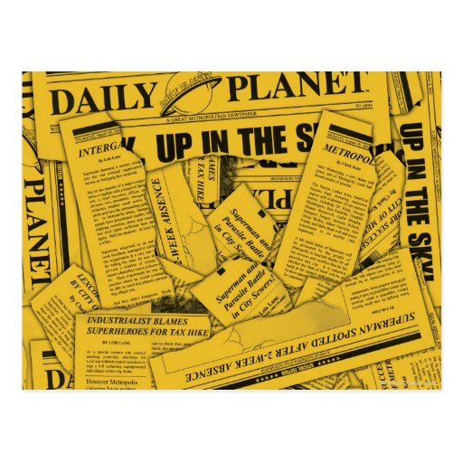 Daily Planet Pattern - Yellow Postcards