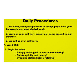 Daily Procedures Poster