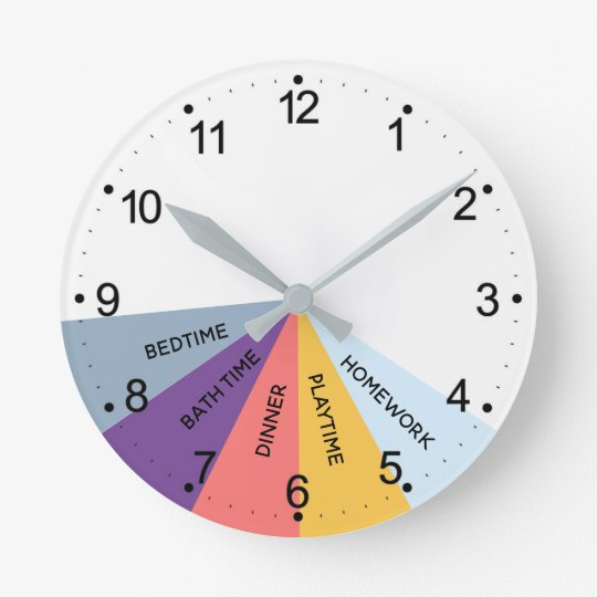 Daily Schedule Colors Round Clock Zazzle Com