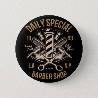 Daily Special Barber Shop Cut And Shave Pinback Button