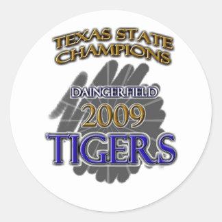Daingerfield Tigers 2009 Texas Football Champions! Classic Round Sticker