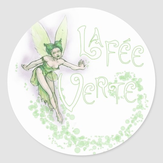 Dainty Absinthe La Fee Verte III Classic Round Sticker