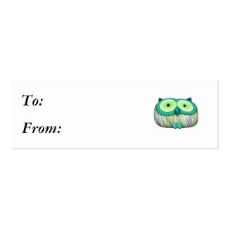 dainty aqua owl mini business card