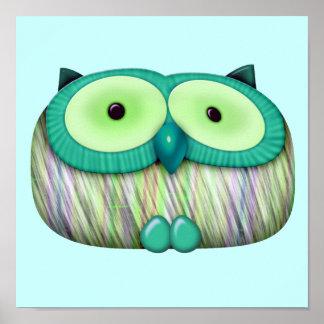 dainty aqua owl poster
