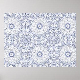 Dainty Blue Ornate Pattern Poster