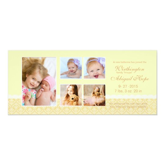 Dainty Damask Pale Yellow - Photo Birth Announceme Card