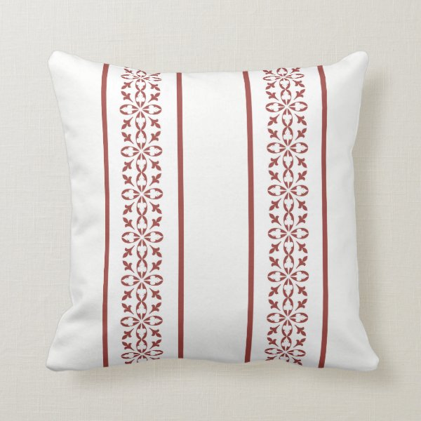 Dainty damask pattern in brick red on white throw pillow