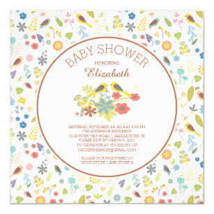 Love bird baby shower invitations announcements zazzle dainty floral love bird baby shower invitations filmwisefo Image collections