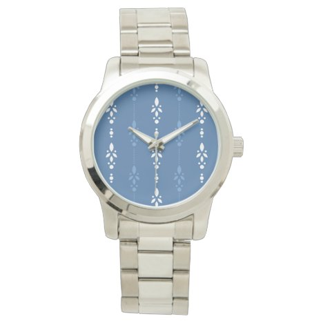 Dainty floral stripes in country blue and white wristwatch