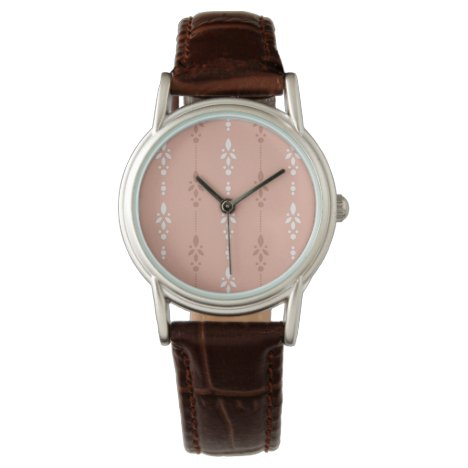 Dainty floral stripes in salmon pink and white wrist watch