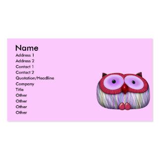 dainty fushcia owl business card