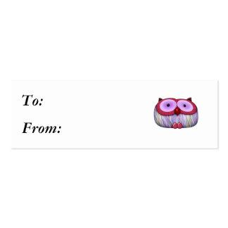 dainty fushcia owl mini business card