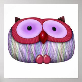 dainty fushcia owl poster