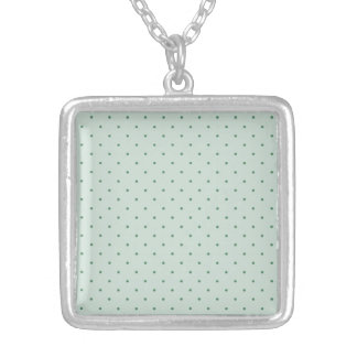 Dainty Green Polka Dots Pattern on a Lighter Green Silver Plated Necklace