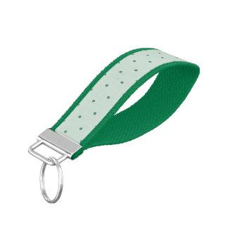 Dainty Green Polka Dots Pattern on a Lighter Green Wrist Keychain