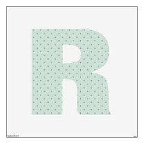 Dainty Green Polka Dots Pattern on Letter R Wall Sticker